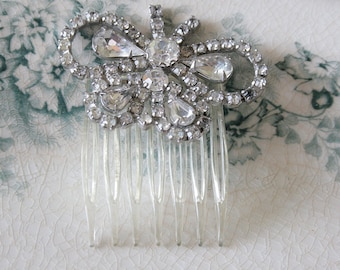 Vintage Rhinestone Butterfly Hair Comb