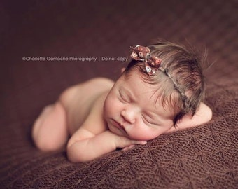 the Floral Chic : Newborn Headband - Earth Brown- Newborn Photo Prop - polka dots, halo, bow headband, head band, photography prop