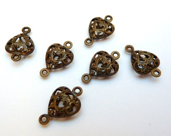 12 brass connectors, heart, bronze