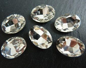 4 glass jewels, 14x10mm, crystal, oval