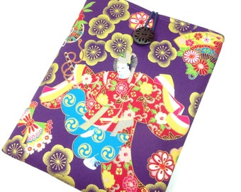 Cotton Fabric Tablet Case, Samsung Tab Sleeves, Padded e-reader Cover Japanese Dancing Purple