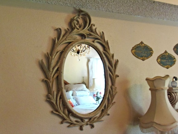 Vintage Mirror Ornate Paris Apartment Curvy Oval  French Country Syroco Shabby Chic Design Du'Jour