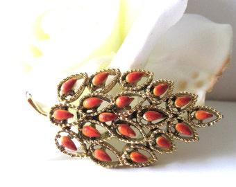 Lovely Orange and Gold Tone Enamel Leaf Brooch