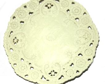 50 cream 4 inch paper doilie,s paper lace doily, wedding invitation trim, paper embellishment