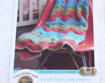 Simple Ripple Baby Afghan Pattern to Crochet - Vanna's Choice Yarn by Lion Brand