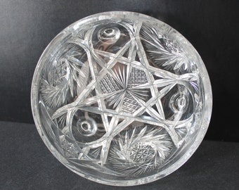 Vintage Cut Crystal Bowl with Star and Pinwheel Design