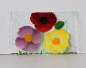 William McGrath signed Floral Fused Glass plate