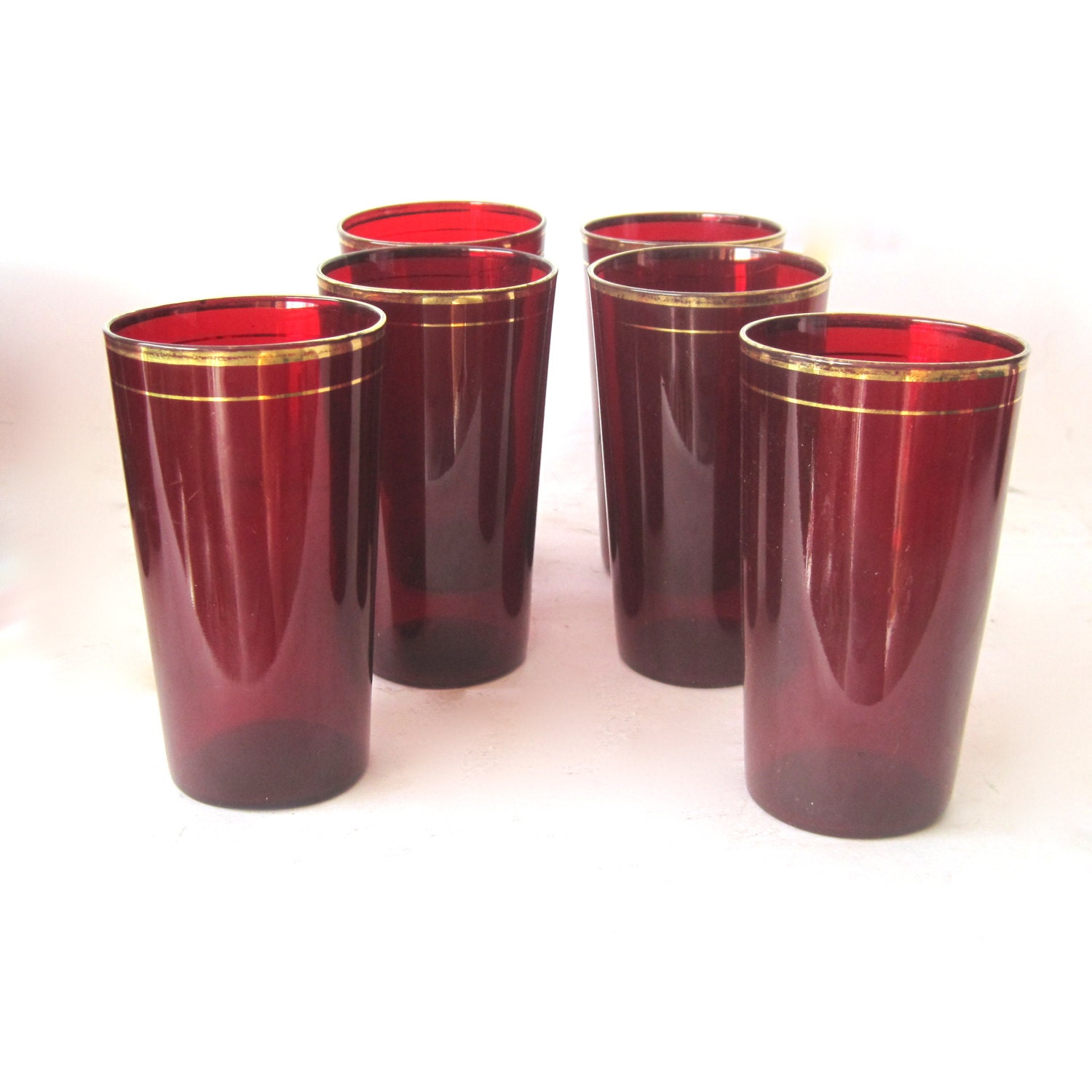 Vintage Ruby Red Glass Tumblers