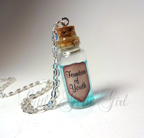 Fountain of Youth - Glass Bottle Cork Necklace - Potion Vial Charm - Blue Liquid Shimmer - Live Forever Infinity Eternal Youth Magic Spells