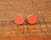 Circle Brass Stud Earring in Coral
