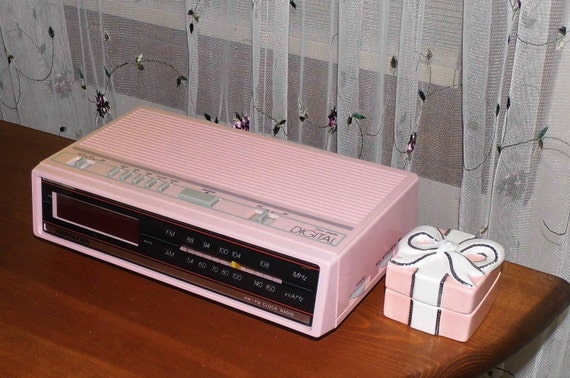 retro pink am fm radio alarm clock bedroom kitchen counter on etsy