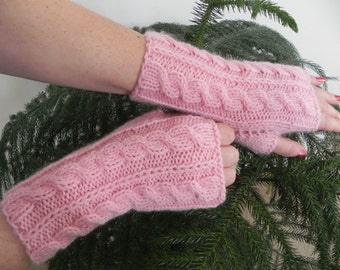 Arm warmers, fingerless gloves, arm cuffs in  pink, fingerless mittens