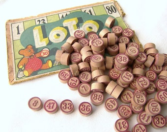 French Wooden Lotto Numbers,  Ten Vintage Bingo Numbers, Ten Vintage Gaming Numbers, Antique Wooden Lotto Numbers