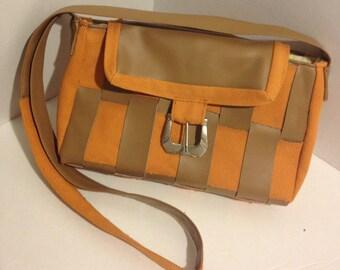 Orange, Tan, Basket Weave, Checker Board Design, Shoulder, Cross Body, Faux Leather, Satchel Purse, with Hand Strap, Brushed Silver Buckle