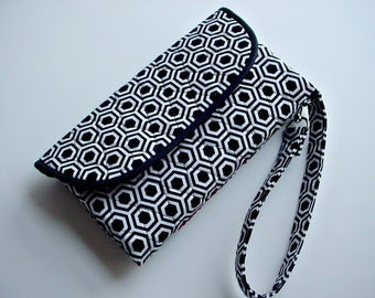 Quilted Wristlet Wallet Carry all in Black and White Geometric print