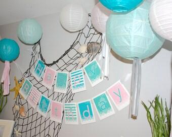 Mermaid Happy Birthday Party Banner- Printable DIY PDF