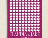 Wedding Guest Book Alternative - The Lovewik - A Peachwik Personalized Art Print - 120 guest sign in - Classic Hearts Wedding Guestbook