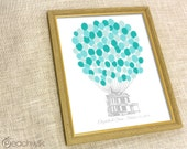 Wedding Guest Book Alternative - The Signature Housewik - A Peachwik Personalized Print - 100 guest sign in -  Balloons & Floating House