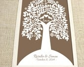Wedding Guest Book  -Charmwik Guest Book Tree - Peachwik Interactive Guestbook Print - 200 guest signatures - love birds, flowers & leaves