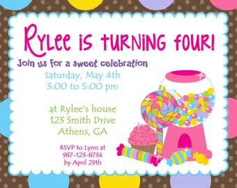 Printable Colorful Candy Land party invitation.  Sweet Treats Brithday Invitation.  Candy Party Birthday Invitation