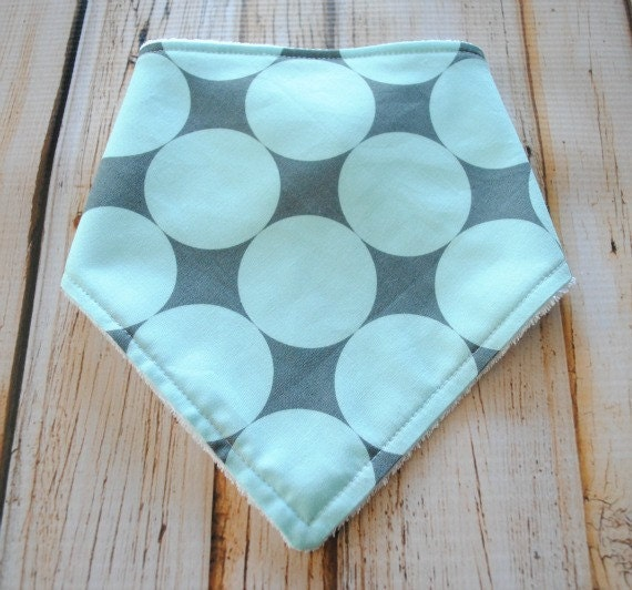 Baby Boy Bandana Bib- snap closure, lined with Organic Bamboo Baby Terry- Disco Dot Seafoam