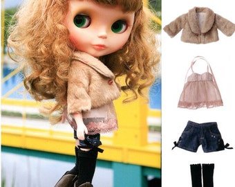 Blythe Fur Jacket, Halterneck Tunic, Corset Shorts and Over Knee Socks Sewing Pattern PDF English templates names,Sewing key included