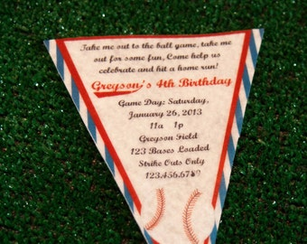 Baseball Invitation, Baseball Birthday Party Pennant Invitation, Grand Slam Birthday, Baseball Party