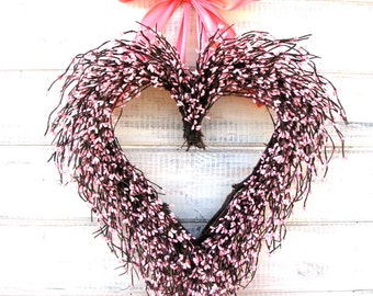 Wedding Decor-Spring Weddings-Heart Wreath-Pink Wreath-Wedding Decorations-Baby Nursery Decor-Shabby Chic PINK Heart-Valentine Wreath