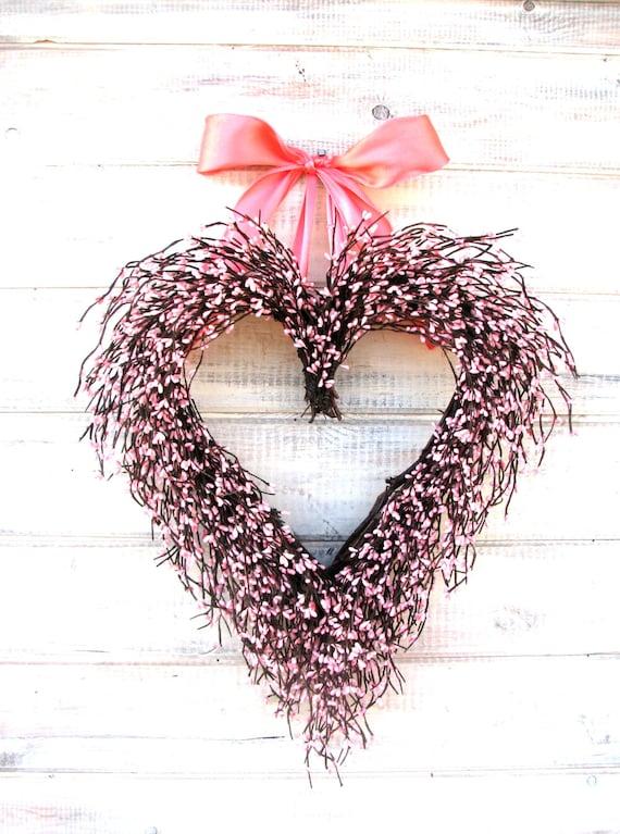 Wedding Decor-Spring Weddings-Heart Wreath-Pink Wreath-Wedding Decorations-Baby Nursery Decor-Shabby Chic PINK Heart-Valentine Wreath