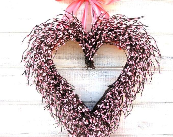 Featured listing image: Valentines Day Wreath-Valentines Day Decor-Heart Wreath-Pink Wreath-Wedding Decorations-Baby Nursery Decor-PINK Heart-Valentine Wreath