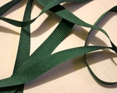 3 yards of 3/8 inch hunter green grosgrain ribbon