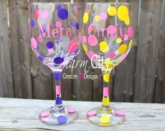 Personalized Wine Glass 20 oz Custom Bachlorette Bridal Wedding Birthday