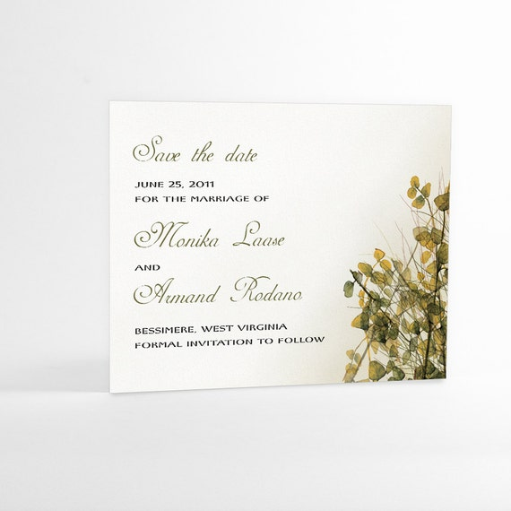 Save The Date Cards Rustic Woodland Wedding, Fall or Autumn Wedding, Watercolor Imagery, Green Leafy Brush, Tree Branches