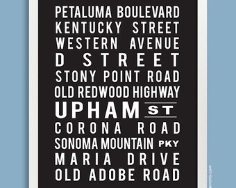 Custom Subway Art Print (street names, favorite cities and places ) in black or custom color
