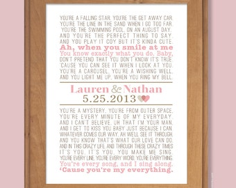 Personalized Wedding Gift, First Dance Song, Modern Vintage Print (custom song lyric art), Rustic Decor, pink and brown, custom colors