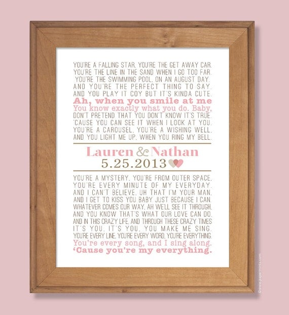 Personalised Wedding Gifts Vintage : Personalized Wedding Gift, First Dance Song, Modern Vintage Print ...