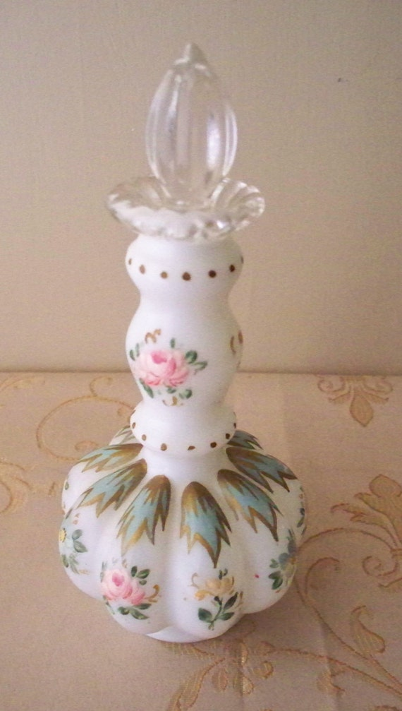 Fenton Charleton Perfume Bottle Melon Shaped Vanity Set Bottle White With Hand Painted Floral