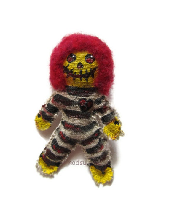SALE: Scary doll monster hand painted hand sewn broken heart
