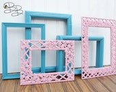 Painted Frame Set of 5 Turquoise and Baby Pink Upcycled Vintage Gallery Wall Frame Set - CLEARANCE SALE