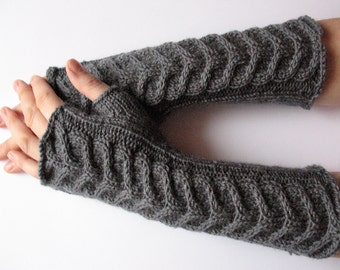 "Fingerless Gloves Long Dark Gray 11"" Mittens Arm Warmers Acrylic"