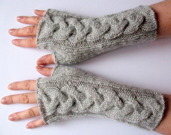 "Fingerless Gloves Arm Warmers Light Grey Dove 8"" Mittens Knit, Soft Acrylic Mohair"