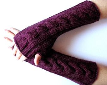 Violet Fingerless Gloves Long Purple 14 inch Mittens Arm Warmers, Acrylic Wool