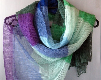 Linen Scarf Linen Clothing Scarves for Women Knit Scarf Infinity Scarf Violet Purple Azure White Green Moss Striped Plaid Scarf Women Shawl