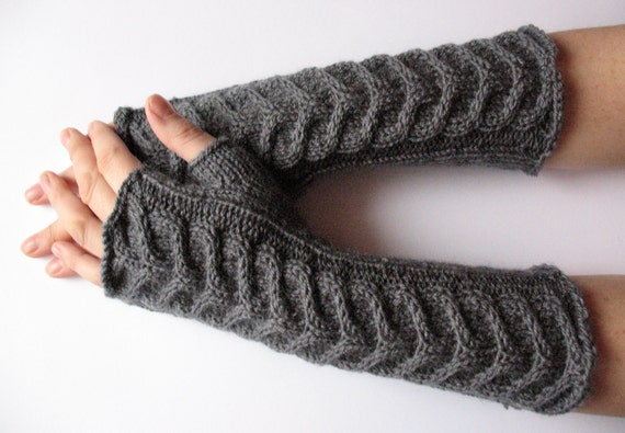 "Fingerless Gloves Long Dark Gray 10"" Mittens Arm Warmers, Acrylic Wool"