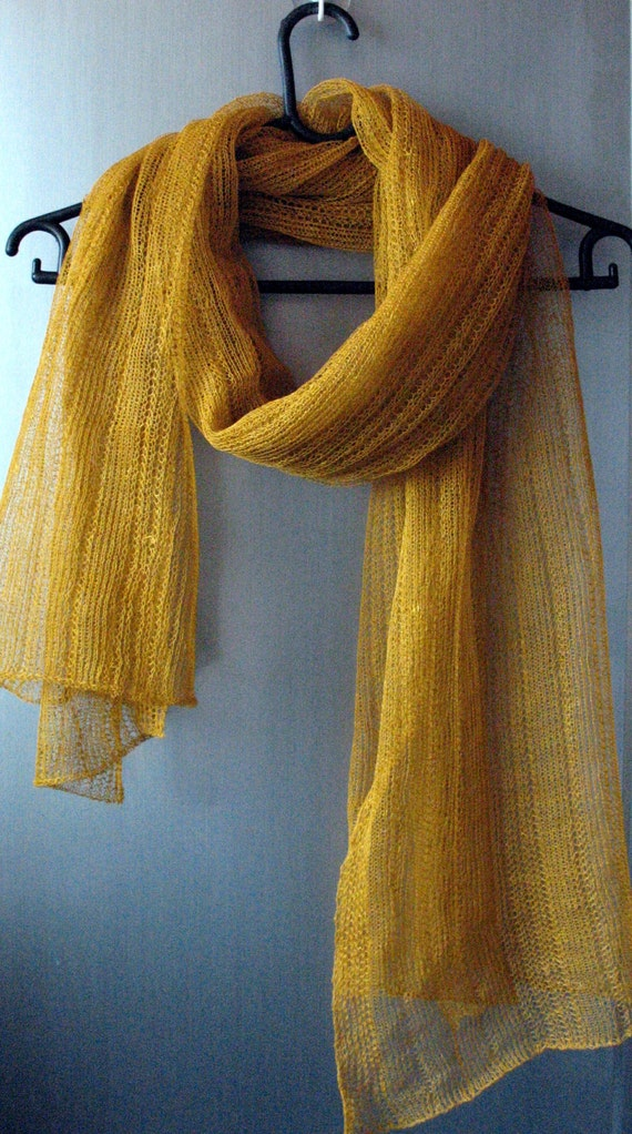 Mustard Linen Scarf Shawl Wrap Stole Yellow Khaki Light, Transparent