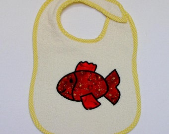 Fish Toddler Bib - Red Fish Applique Cream Terrycloth Toddler Bib