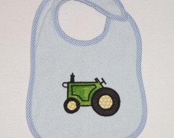 Tractor Toddler Bib - Tractor Applique Blue Terrycloth Toddler Bib