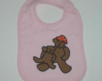 Teddy Bear Toddler Bib - Sitting Bears Ready for Bed Applique Pink Terrycloth Toddler Bib