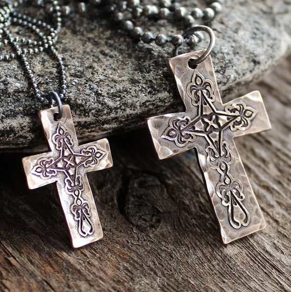 his and hers personalized bronze cross by 2sistershandcrafted