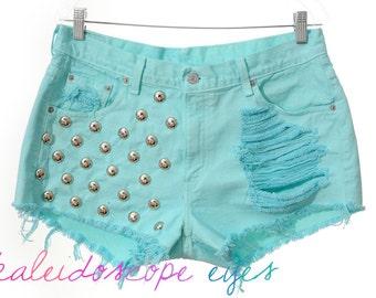 Vintage Levis Pastel Dyed  DESTROYED Denim High Waist STUDDED Cut Off  Shorts XL